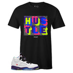 Men's Black Crew Neck HUSTLE T-shirt to Match Air Jordan Retro 5 Alternate Bel Air
