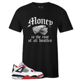 Men's Black Crew Neck MONEY T-shirt to Match Air Jordan Retro 4 Fire Red