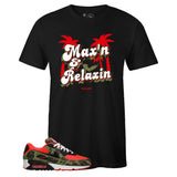 Men's Black Crew Neck MAX'N AND RELAXIN T-shirt to Match Air Max 90 Reverse Duck Camo