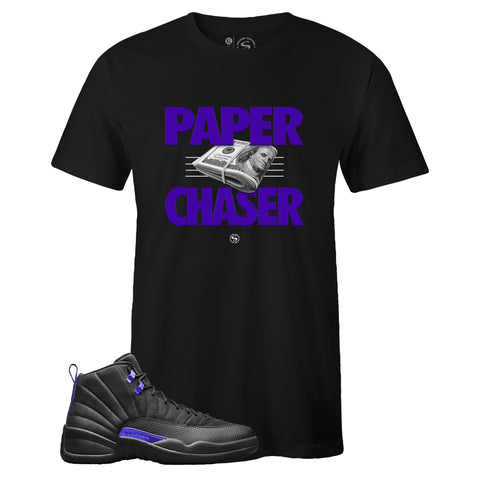 Men's Black Crew Neck PAPER CHASER T-shirt to Match Air Jordan Retro 12 Dark Concord