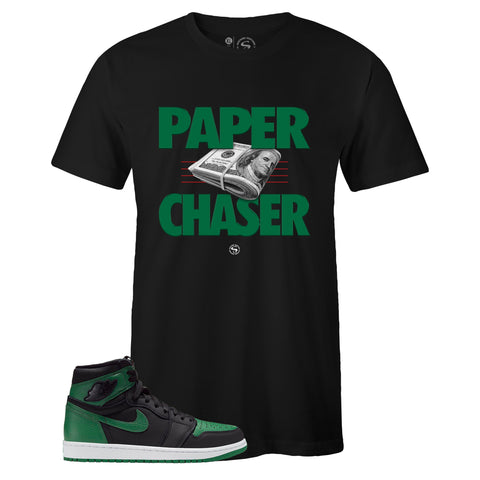 Men's Black Crew Neck PAPER CHASER T-shirt to Match Air Jordan Retro 1 OG Pine Green