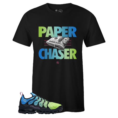Men's Black Crew Neck PAPER CHASER T-shirt To Match Air VaporMax Plus Aurora Green