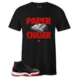 Men's Black Crew Neck PAPER CHASER T-shirt to Match Air Jordan Retro 11 Bred