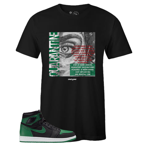 Men's Black Crew Neck QUARANTINE T-shirt to Match Air Jordan Retro 1 OG Pine Green