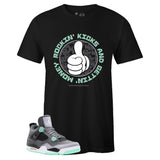Men's Black Crew Neck ROCKIN' KICKS T-shirt To Match Air Jordan Retro 4 Green Glow