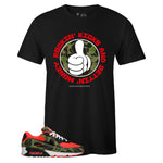 Men's Black Crew Neck ROCKIN' KICKS T-shirt to Match Air Max 90 Reverse Duck Camo