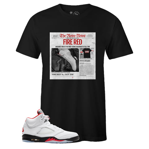 Men's Black Crew Neck RETRO NEWS T-shirt to Match Air Jordan Retro 5 Fire Red