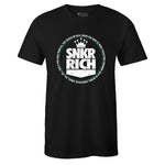Men's Black Crew Neck SNKR RICH T-shirt to Match Air Jordan Retro 13 Lucky Green