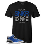 Men's Black Crew Neck SNKR RICH T-shirt to Match Air Jordan Retro 3 Blue Cement