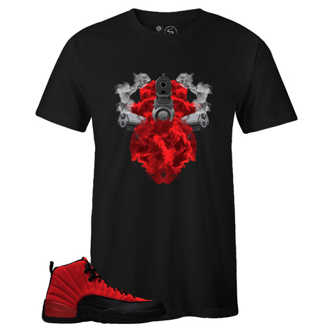Men's Black Crew Neck GUNS IN SMOKE T-shirt to Match Air Jordan Retro 12 Reverse Flu Game