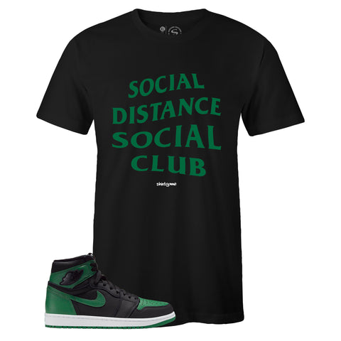 Men's Black Crew Neck SOCIAL DISTANCE T-shirt to Match Air Jordan Retro 1 OG Pine Green