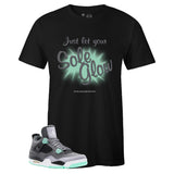 Men's Black Crew Neck SOLE GLOW T-shirt To Match Air Jordan Retro 4 Green Glow