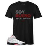 Men's Black Crew Neck SOY BUENO T-shirt to Match Air Jordan Retro 5 Fire Red