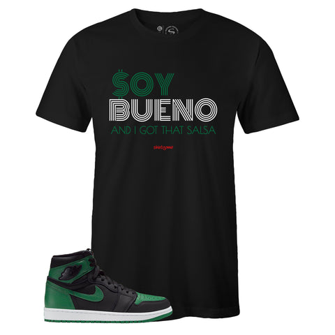 Men's Black Crew Neck SOY BUENO T-shirt to Match Air Jordan Retro 1 OG Pine Green