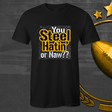 Black Crew Neck STEEL HATIN' T-shirt For Steelers Fans