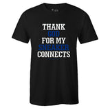 Men's Black Crew Neck THANK GOD T-shirt to Match Air Jordan Retro 14 Hyper Royal