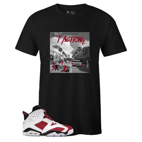 Black Crew Neck T-ACTION 2 T-shirt to Match Air Jordan Retro 6 Carmine