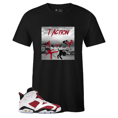 Black Crew Neck T-ACTION T-shirt to Match Air Jordan Retro 6 Carmine