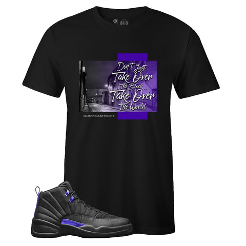 Men's Black Crew Neck TAKE OVER T-shirt to Match Air Jordan Retro 12 Dark Concord
