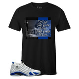 Men's Black Crew Neck TAKE OVER T-shirt to Match Air Jordan Retro 14 Hyper Royal