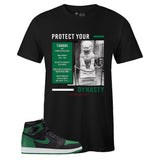 Men's Black Crew Neck TIANGOU T-shirt to Match Air Jordan Retro 1 OG Pine Green