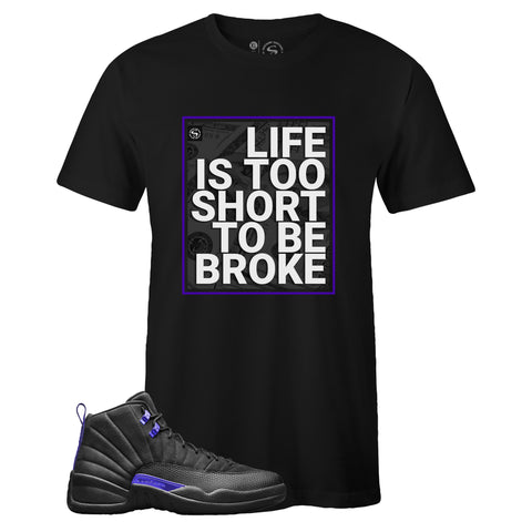 Men's Black Crew Neck TOO SHORT T-shirt to Match Air Jordan Retro 12 Dark Concord