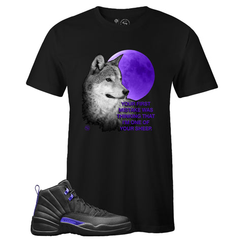 Men's Black Crew Neck WOLF T-shirt to Match Air Jordan Retro 12 Dark Concord