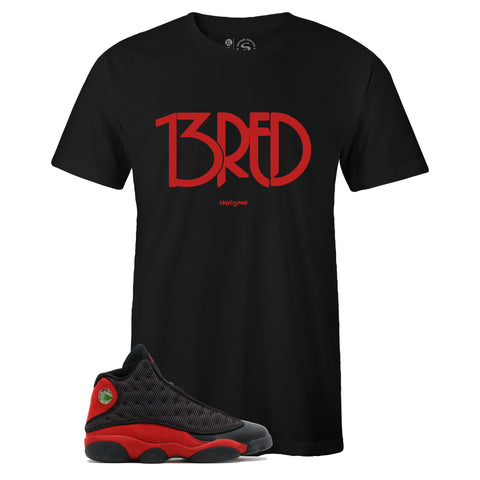 Men's Black Crew Neck 13RED T-shirt To Match Air Jordan Retro 13 BRED