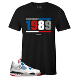 Men's Black Crew Neck 1989 T-shirt To Match Air Jordan Retro 4 What The