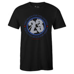 Men's Black Crew Neck 23 T-shirt To Match Air Jordan Retro 4 WNTR Loyal Blue