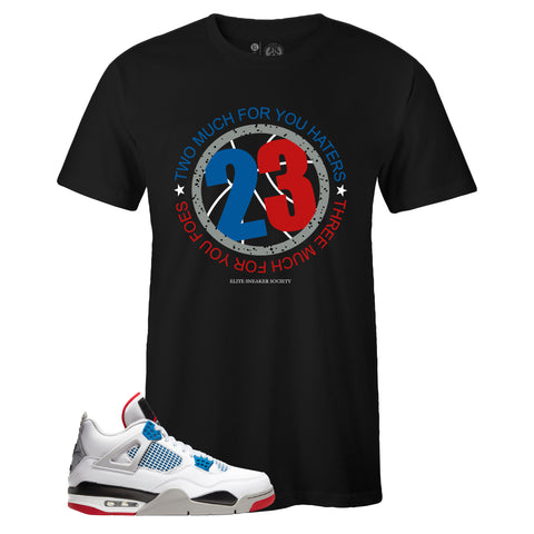 Men's Black Crew Neck 23 T-shirt To Match Air Jordan Retro 4 What The