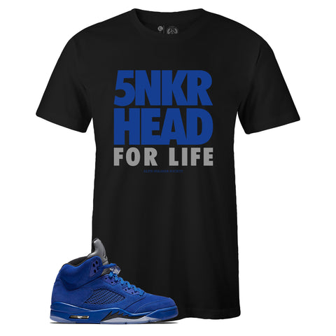 Men's Black Crew Neck SNKR HEAD FOR LIFE T-shirt To Match Air Jordan Retro 5 Blue Suede