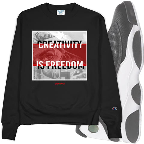 Men's Black Crew Neck CREATIVITY Champion Sweatshirt to Match Air Jordan Retro 13 Reverse He Got Game