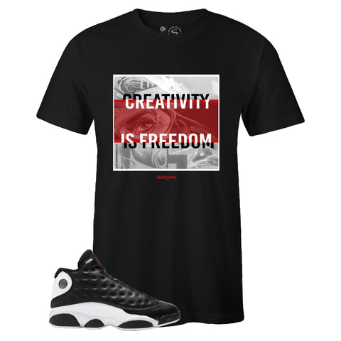 Men's Black Crew Neck CREATIVITY T-shirt to Match Air Jordan Retro 13 Reverse He Got Game