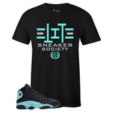 Men's Black Crew Neck ELITE SNEAKER SOCIETY T-shirt To Match Air Jordan Retro 13 Island Green