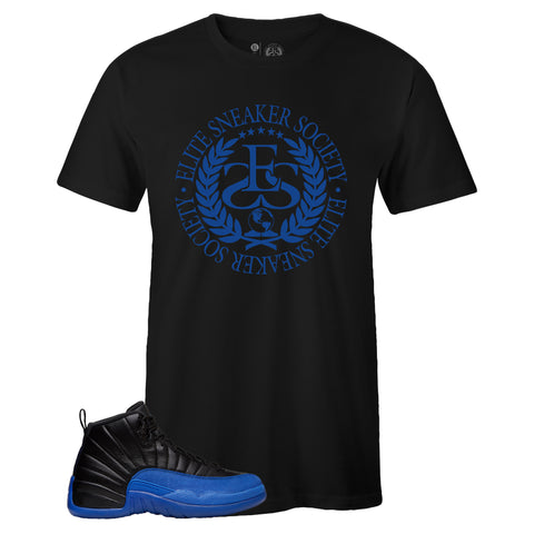 Men's Black Crew Neck ELITE SNEAKER SOCIETY T-shirt To Match Air Jordan Retro 12 Game Royal