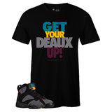 Men's Black Crew Neck Get Your Deaux Up T-shirt To Match Air Jordan Retro 7 Bordeaux