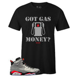 Men's Black Crew Neck GAS MONEY T-shirt To Match Air Jordan Retro 6 3M Reflective Infrared