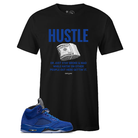 Men's Black Crew Neck HUSTLE Sneaker T-shirt To Match Air Jordan Retro 5 Blue Suede