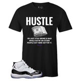 Men's Black Crew Neck HUSTLE T-shirt to Match Air Jordan Retro 11 CONCORD