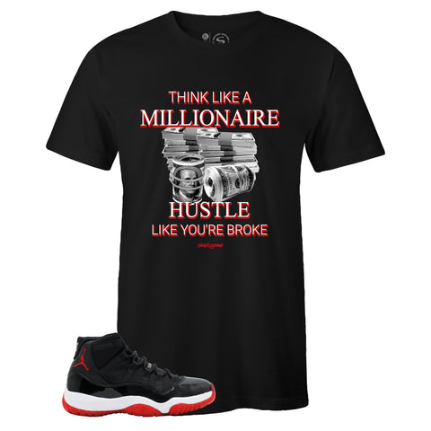 Men's Black Crew Neck MILLIONAIRE MINDSET T-shirt to Match Air Jordan Retro 11 Bred