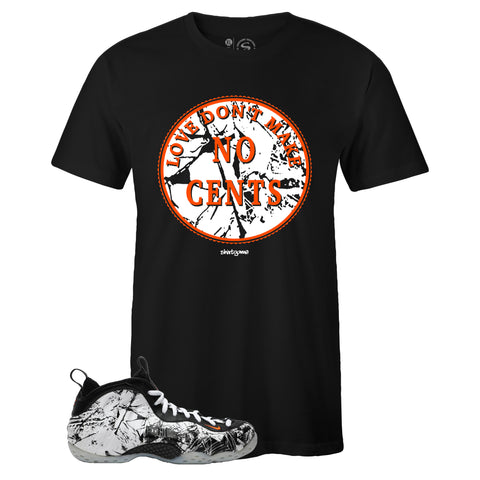 Men's Black Crew Neck NO CENTS T-shirt To Match Air Foamposite One Shattered Backboard