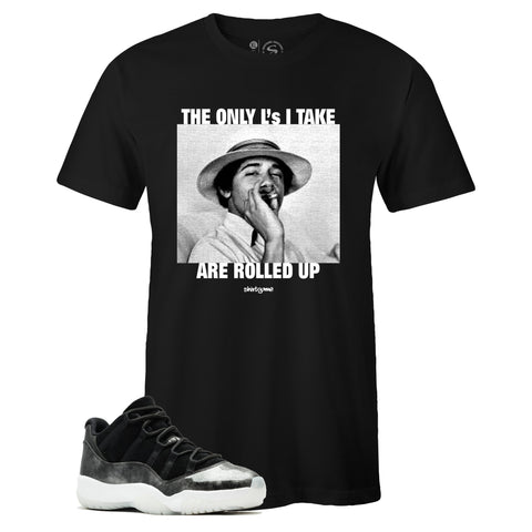 Men's Black Crew Neck ROLLED UP 420 T-shirt to Match Jordan Retro 11 Low Barons