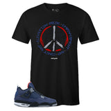 Men's Black Crew Neck PEACE T-shirt To Match Air Jordan Retro 4 WNTR Loyal Blue