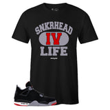 Men's Black Crew Neck SNKRHEAD IV LIFE T-shirt To Match Air Jordan Retro 4 BRED