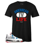 Men's Black Crew Neck SNKRHEAD IV LIFE T-shirt To Match Air Jordan Retro 4 What The