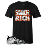 Men's Black Crew Neck SNKR RICH T-shirt To Match Air Foamposite One Shattered Backboard