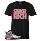 Men's Black Crew Neck SNKR RICH T-shirt To Match Air Jordan Retro 6 3M Reflective Infrared