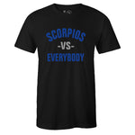 Men's Black Crew Neck SCORPIOS VS EVERYBODY T-shirt To Match Air Jordan Retro 5 Blue Suede