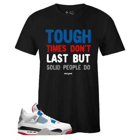 Men's Black Crew Neck SOLID T-shirt To Match Air Jordan Retro 4 What The